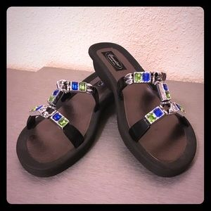 Jeweled Low Wedge Sandals